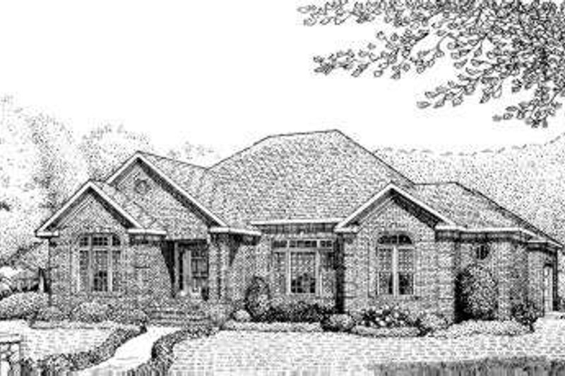 Traditional Style House Plan - 4 Beds 3.5 Baths 2579 Sq/Ft Plan #306-121 Exterior - Front Elevation