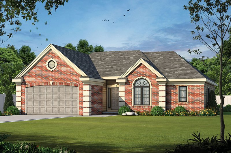 European Style House Plan - 2 Beds 2 Baths 1692 Sq/Ft Plan #20-1422 Exterior - Front Elevation