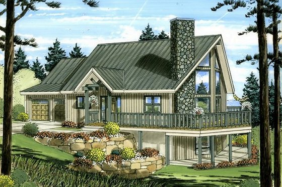 Cabin Exterior - Front Elevation Plan #126-191