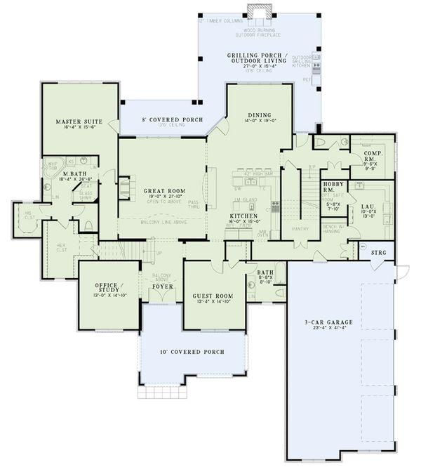 European Floor Plan - Main Floor Plan Plan #17-2568