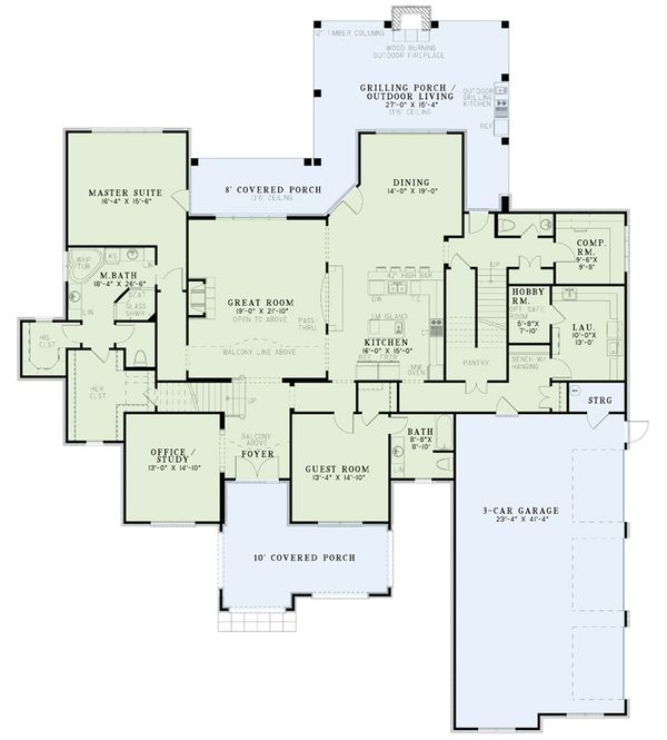 European Floor Plan - Main Floor Plan Plan #17-2568