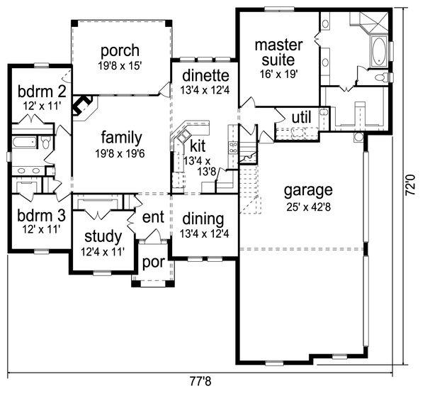 Traditional Floor Plan - Main Floor Plan Plan #84-611