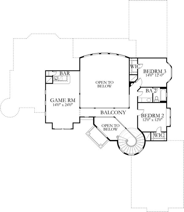 Mediterranean Floor Plan - Upper Floor Plan Plan #80-127