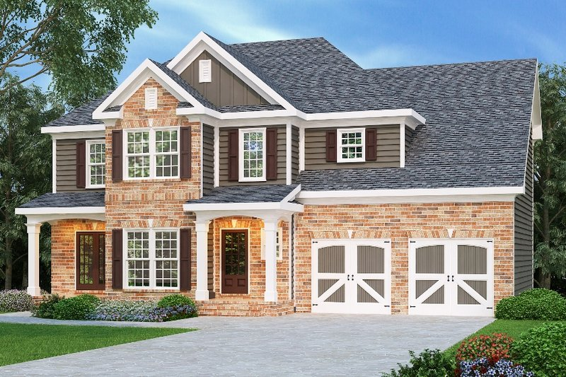 Traditional Style House Plan - 3 Beds 2.5 Baths 1819 Sq/Ft Plan #419-125 Exterior - Front Elevation