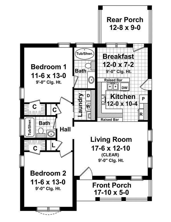 House Plan Design - Cottage Floor Plan - Main Floor Plan #21-222
