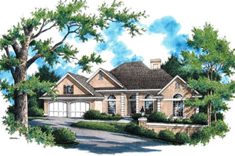 Mediterranean Exterior - Front Elevation Plan #45-341