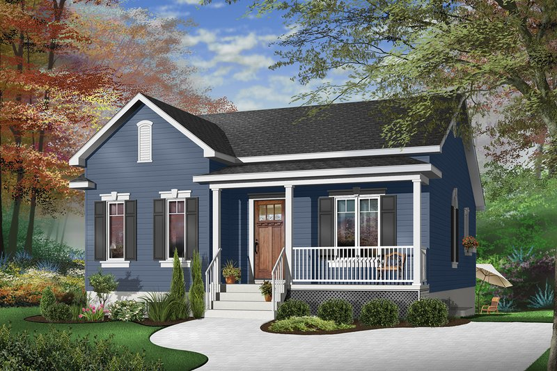 Farmhouse Style House Plan - 2 Beds 1 Baths 1026 Sq/Ft Plan #23-692 Exterior - Front Elevation