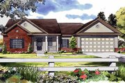 Ranch Style House Plan - 3 Beds 2 Baths 1700 Sq/Ft Plan #21-144 Exterior - Front Elevation