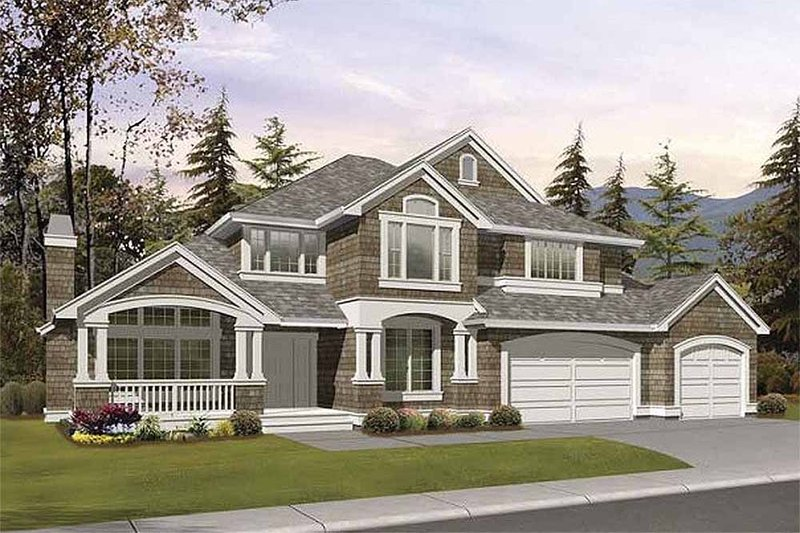 Country Style House Plan - 4 Beds 3.5 Baths 4415 Sq/Ft Plan #132-146 Exterior - Front Elevation
