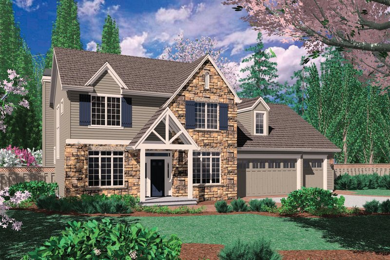 Craftsman Exterior - Front Elevation Plan #48-392