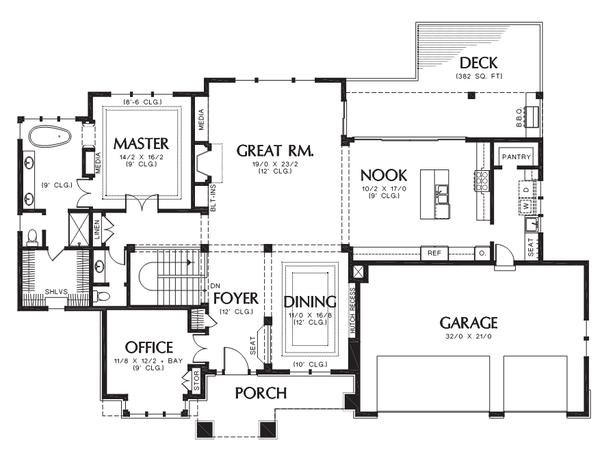 Prairie Floor Plan - Main Floor Plan Plan #48-700