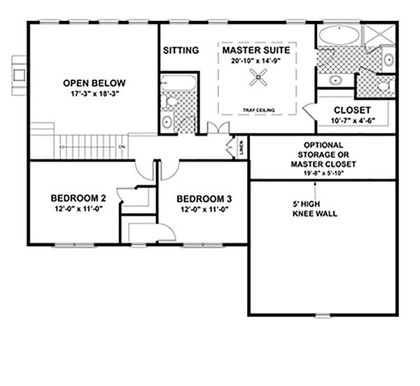 Colonial Floor Plan - Upper Floor Plan Plan #56-244