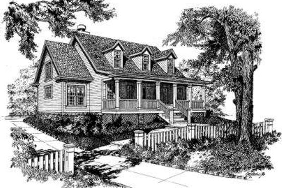 Country Exterior - Front Elevation Plan #322-123