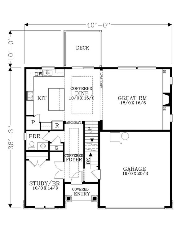Craftsman Floor Plan - Main Floor Plan Plan #53-471