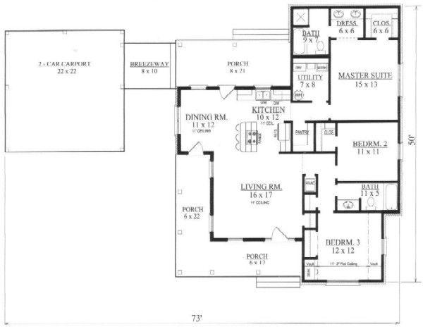 Southern Floor Plan - Main Floor Plan Plan #14-251