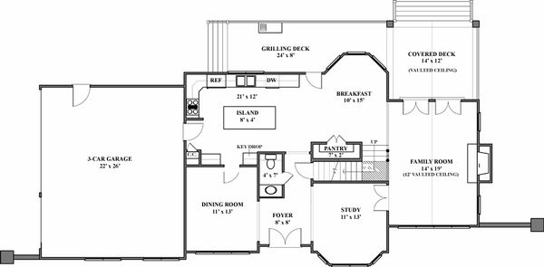 European Floor Plan - Main Floor Plan Plan #119-114