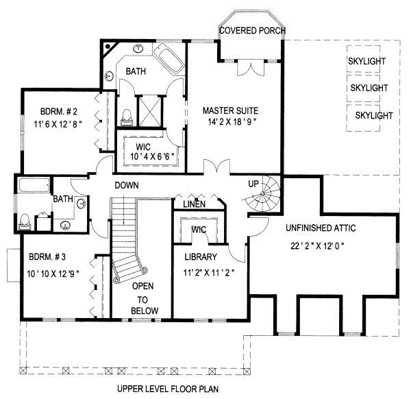 Country Floor Plan - Upper Floor Plan Plan #117-878