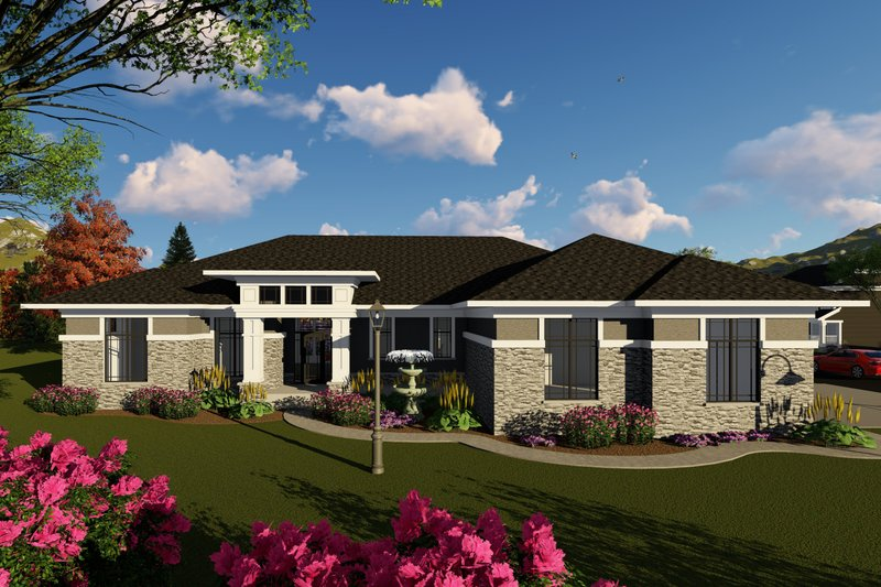 Ranch Exterior - Front Elevation Plan #70-1427