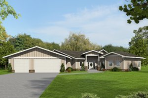 Ranch Exterior - Front Elevation Plan #117-874