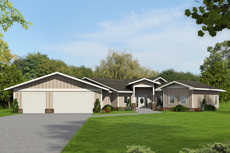 Ranch Style House Plan - 3 Beds 2.5 Baths 2943 Sq/Ft Plan #117-874 Exterior - Front Elevation