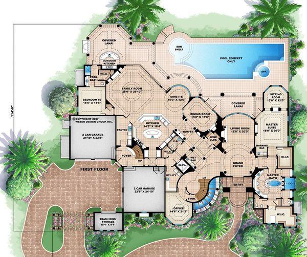 Mediterranean Floor Plan - Main Floor Plan #27-479