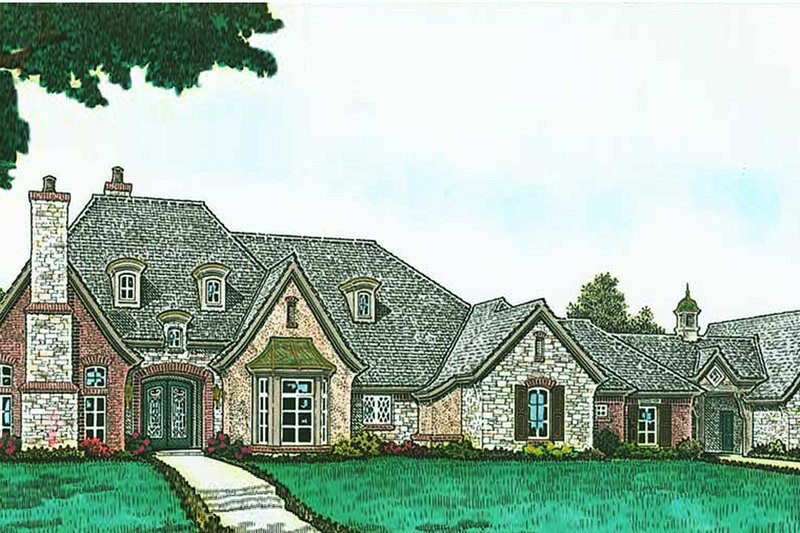European Style House Plan - 4 Beds 4.5 Baths 4386 Sq/Ft Plan #310-1294 Exterior - Front Elevation
