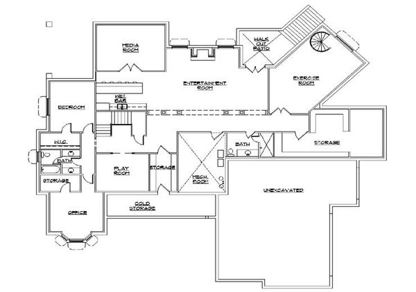 Colonial Floor Plan - Lower Floor Plan Plan #5-336