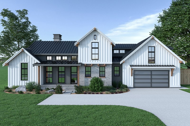 Country Style House Plan - 3 Beds 2.5 Baths 2013 Sq/Ft Plan #1070-33 Exterior - Front Elevation