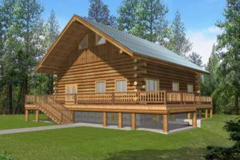 Log Exterior - Front Elevation Plan #117-495 - Houseplans.com