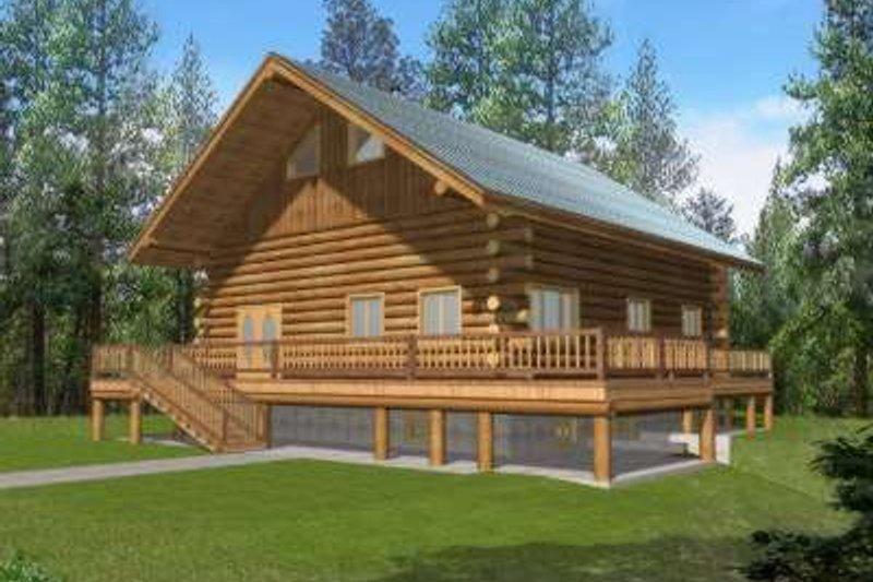 Home Plan - Log Exterior - Front Elevation Plan #117-495