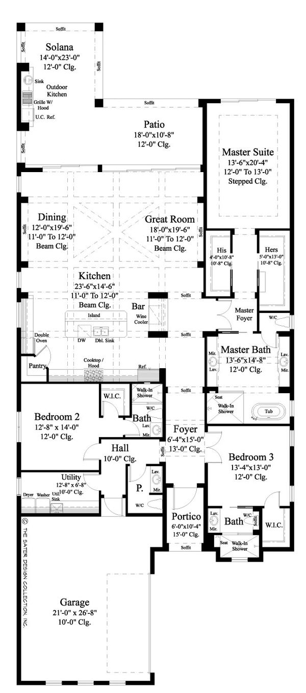 Mediterranean Floor Plan - Main Floor Plan Plan #930-480