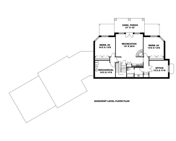 Home Plan Design - Ranch Floor Plan - Lower Floor Plan #117-875