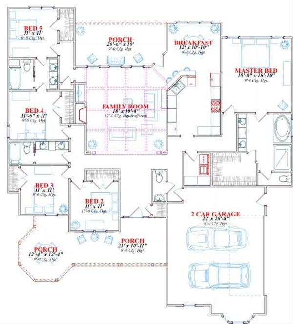 Victorian Floor Plan - Main Floor Plan Plan #63-163