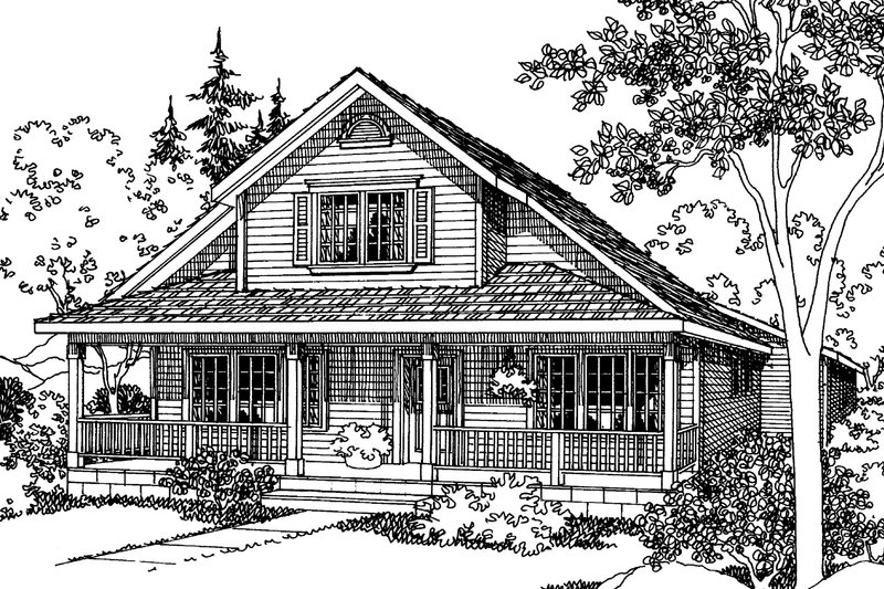 Cottage Exterior - Front Elevation Plan #124-380