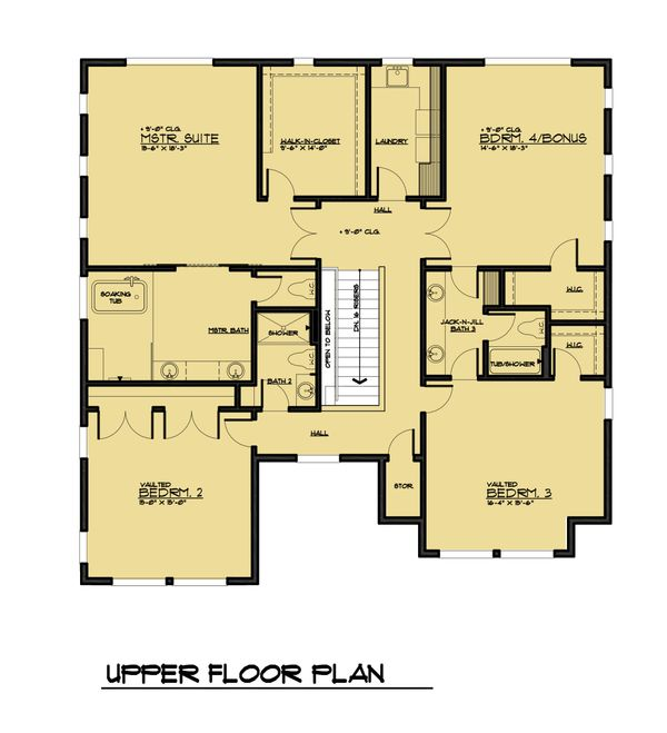 Modern Floor Plan - Upper Floor Plan Plan #1066-64