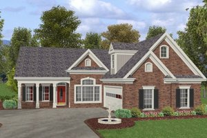 Southern Exterior - Front Elevation Plan #56-580