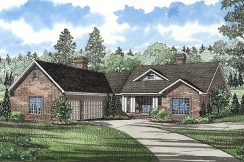 Traditional Style House Plan - 3 Beds 2.5 Baths 2611 Sq/Ft Plan #17-1022 Exterior - Front Elevation