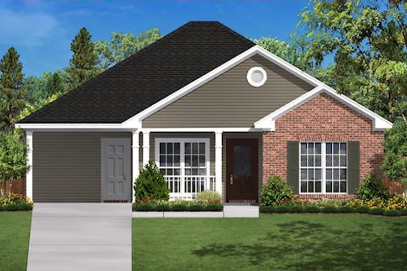 Traditional Style House Plan - 2 Beds 1 Baths 900 Sq/Ft Plan #430-2 Exterior - Front Elevation