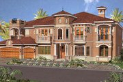 Mediterranean Style House Plan - 7 Beds 8.5 Baths 6412 Sq/Ft Plan #420-190 Exterior - Front Elevation