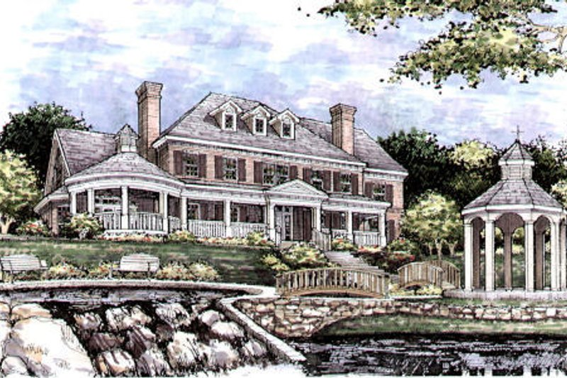 Colonial Style House Plan - 4 Beds 3.5 Baths 4949 Sq/Ft Plan #141-318 Exterior - Front Elevation
