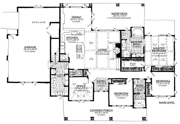 House Plan Design - Main Level 3 Car Side Load