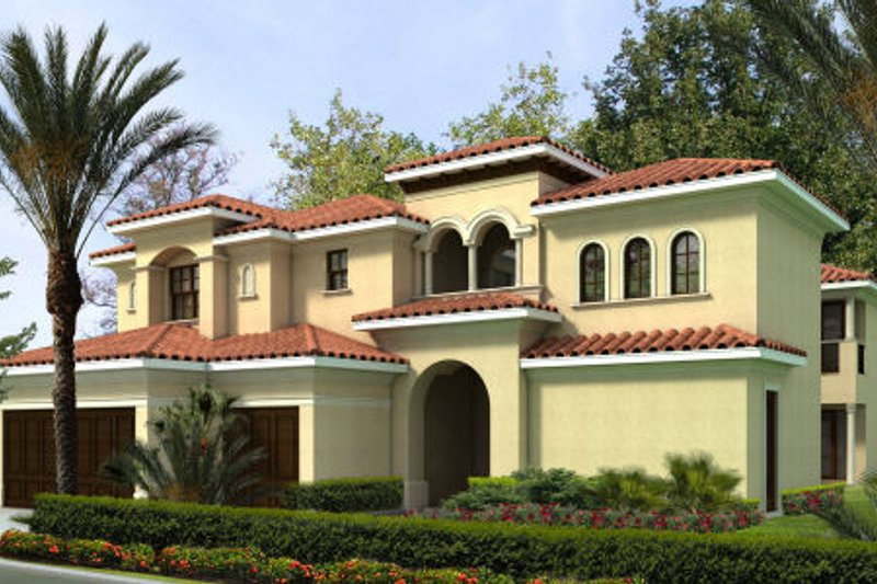 Mediterranean Style House Plan - 5 Beds 4.5 Baths 4537 Sq/Ft Plan #420-237 Exterior - Front Elevation
