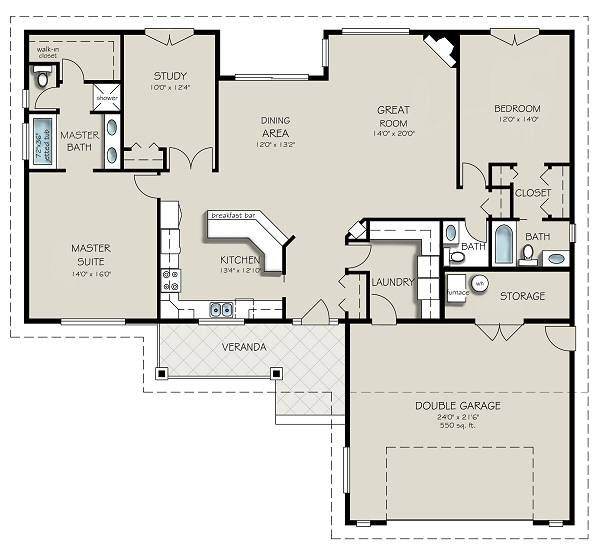 House Design - Country Floor Plan - Main Floor Plan #427-10