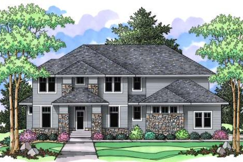 Prairie Exterior - Front Elevation Plan #51-364 - Houseplans.com