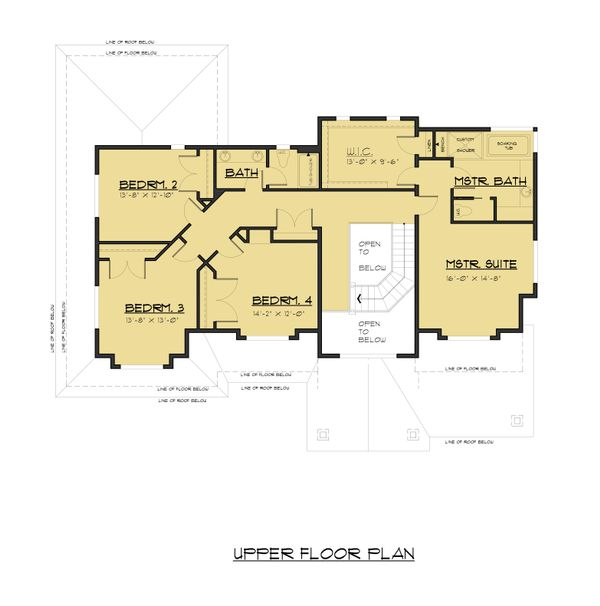 Traditional Floor Plan - Upper Floor Plan Plan #1066-68