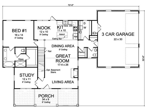 Traditional Floor Plan - Main Floor Plan Plan #513-2171