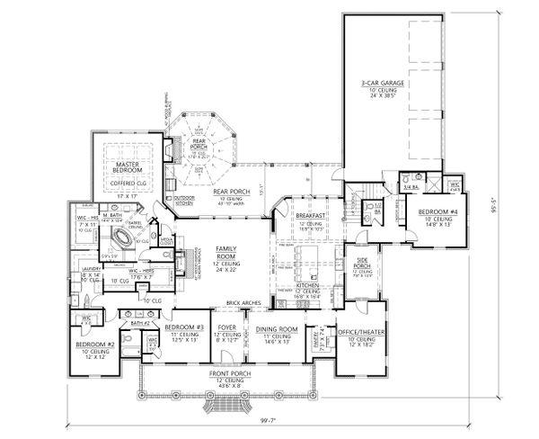Southern Floor Plan - Main Floor Plan #1074-12