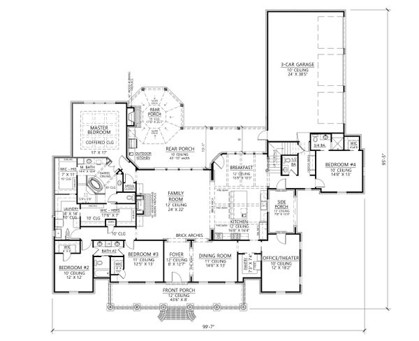 Southern Floor Plan - Main Floor Plan Plan #1074-12