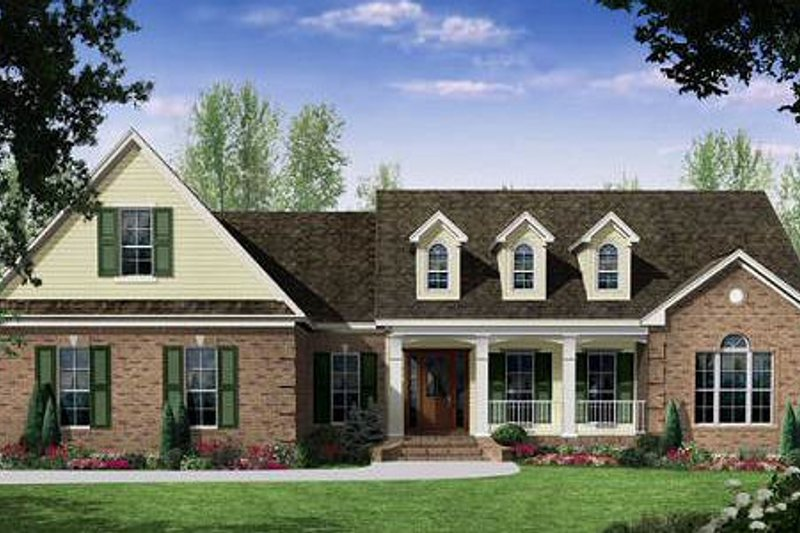 European Style House Plan - 3 Beds 2.5 Baths 2401 Sq/Ft Plan #21-268 Exterior - Front Elevation