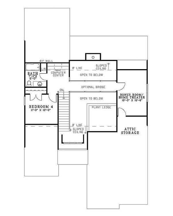 House Design - European Floor Plan - Upper Floor Plan #17-122